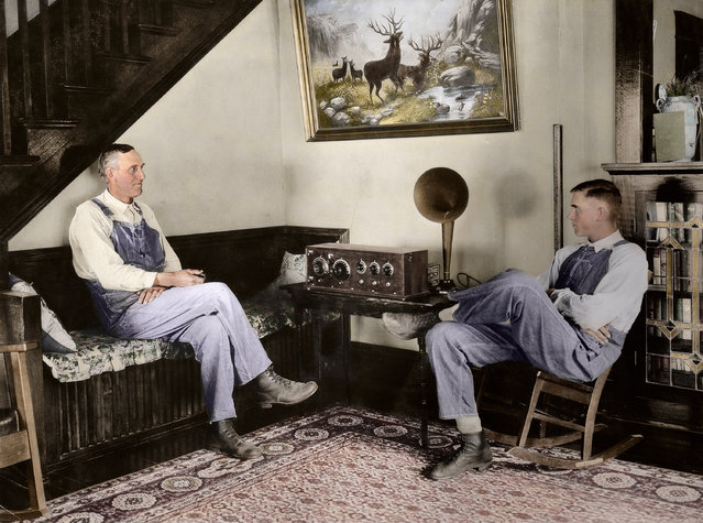 Farmer and his son listening in the evenings, Shawnee county, Kansas, September 23 or 24, 1924.