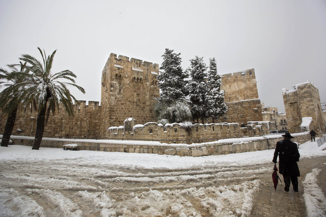 An ultra-Orthodox Jewish man walks in the snow near the Jaffa gate in Jerusalem's Old City, Friday, February 20, 2015. A heavy winter storm descended on parts of the Middle East on Friday, with snow forcing the closure of all roads leading in and out of Jerusalem and sprinkling Israel's desert with a rare layer of white. (Photo by Sebastian Scheiner/AP Photo)