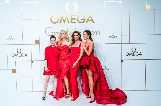 (L-R) Chinese actress Cecilia Liu Shishi, Australian actress Nicole Kidman, American model Cindy Crawford and Brazilian model Alessandra Ambrosio pose during an Omega new product launch event on October 23, 2018 in Shanghai, China. (Photo by Imaginechina/Rex Features/Shutterstock)