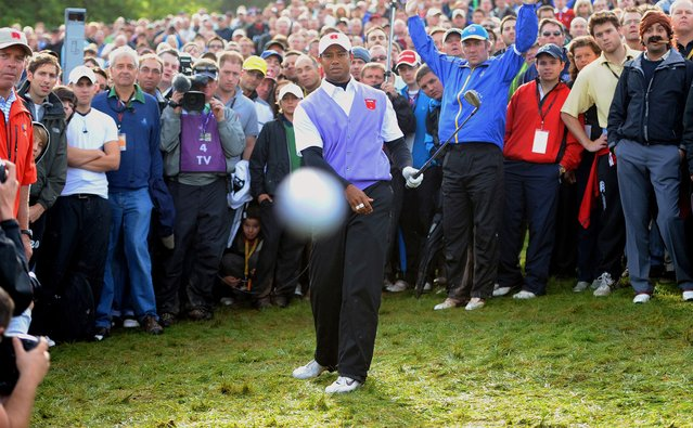 Bronze Award. In The Firing Line (2010). Tiger Woods hits photographer Mark Pain during the Ryder Cup at Celtic Manor. (Photo by Mark Pain/World Sports Photography Awards 2021)
