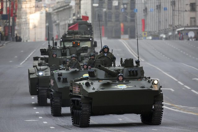 New Russian military vehicles make their way to Red Square during a rehearsal for the Victory Day military parade which will take place at Moscow's Red Square on May 9 to celebrate 70 years after the victory in WWII, in Moscow, Russia, Monday, May 4, 2015. (Photo by Alexander Zemlianichenko/AP Photo)