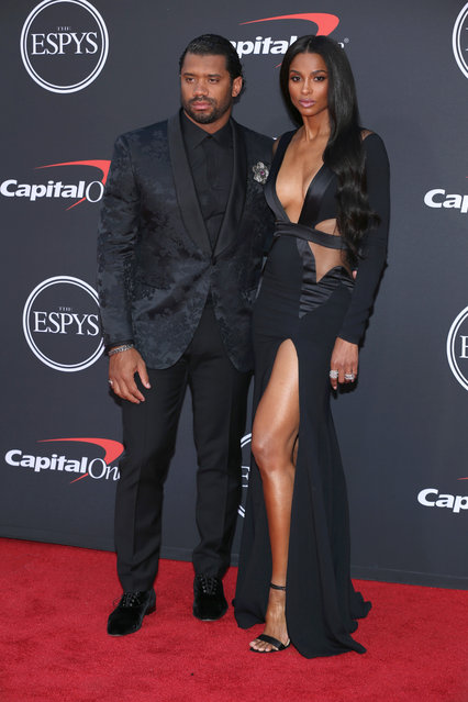 Russell Wilson (L) and Ciara attend The 2019 ESPYs at Microsoft Theater on July 10, 2019 in Los Angeles, California. (Photo by Phillip Faraone/FilmMagic)