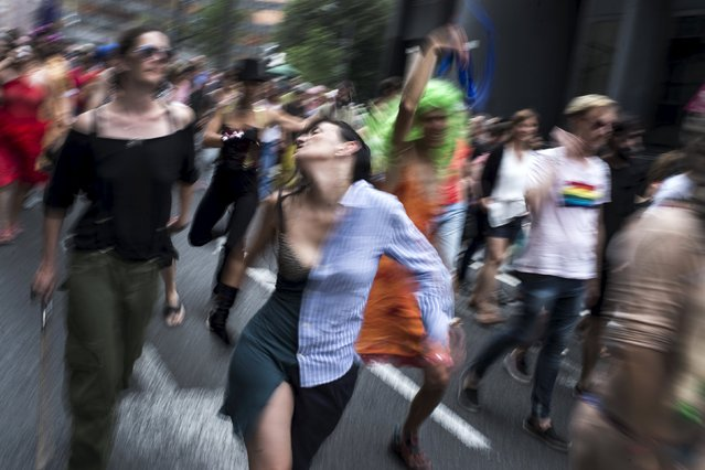 Participants dance during a gay pride march in Bilbao, northern Spain June 28, 2015. The rally came against the backdrop of the U.S. Supreme Court's landmark decision on Friday to grant a constitutional right to same-s*x marriage. (Photo by Vincent West/Reuters)