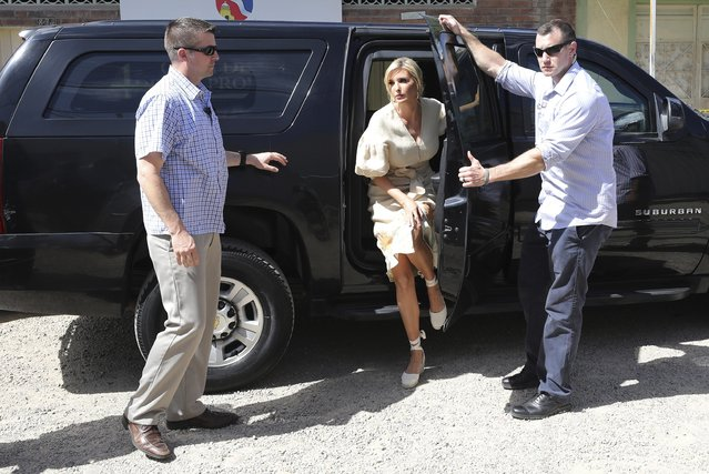 Ivanka Trump, President Donald Trump's daughter and White House adviser, arrives for a meting with Venezuelan migrants at a shelter in La Parada near Cucuta, Colombia, Wednesday, September 4, 2019. Ivanka Trump is kicking off her trip to South America by promoting women's empowerment. (Photo by Fernando Vergara/AP Photo)