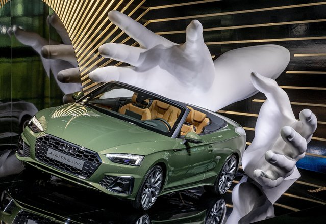 An Audi A5 4.0 TDI Quattro is displayed at the IAA Auto Show in Frankfurt, Germany, Monday, September 9, 2019. The IAA starts with two media days on Tuesday and Wednesday. (Photo by Michael Probst/AP Photo)