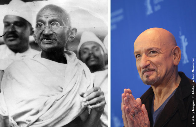 1930: Mahatma Gandhi (Mohandas Karamchand Gandhi, 1869 - 1948), Indian nationalist and spiritual leader, leads the Salt March in protest against the government monopoly on salt production in 1930; Actor Sir Ben Kingsley attends the 'Shutter Island' Photocall during day three of the 60th Berlin International Film Festival at the Grand Hyatt Hotel on February 13, 2010 in Berlin, Germany