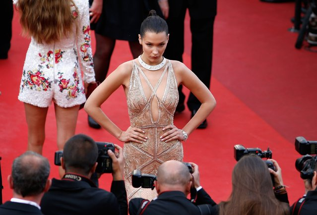 "Model Bella Hadid attends the ""Cafe Society"" premiere and the Opening Night Gala during the 69th annual Cannes Film Festival at the Palais des Festivals on May 11, 2016 in Cannes, France. (Photo by Tristan Fewings/Getty Images)"