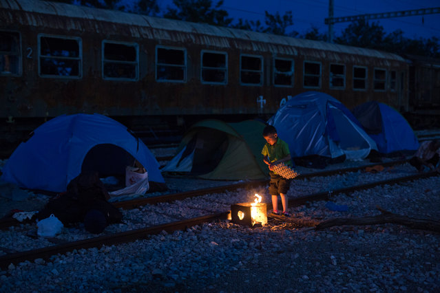 A Syrian boy tries to light a makeshift fire in front of tents set up near an abandoned wagon of a train at a makeshift refugee camp of the northern Greek border point of Idomeni, Greece, on Friday, May 13, 2016. More than 9000 people are camped in Idomeni as about 54,000 people are currently stranded in Greece, after the European Union and Turkey reached a deal designed to stem the flow of refugees into Europe's prosperous heartland. (Photo by Petros Giannakouris/AP Photo)