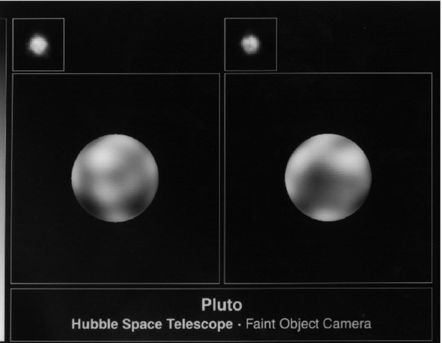 Pictures of the surface of the planet Pluto by NASA March 7, 1996. The pictures, taken from the Hubble Space Telescope with the European Space Agency's Faint Object Camera, were made in June and July of 1994 and show that Pluto is an unusually complex object with more large-scale contrast than any other planet except Earth. (Photo by Reuters/NASA)