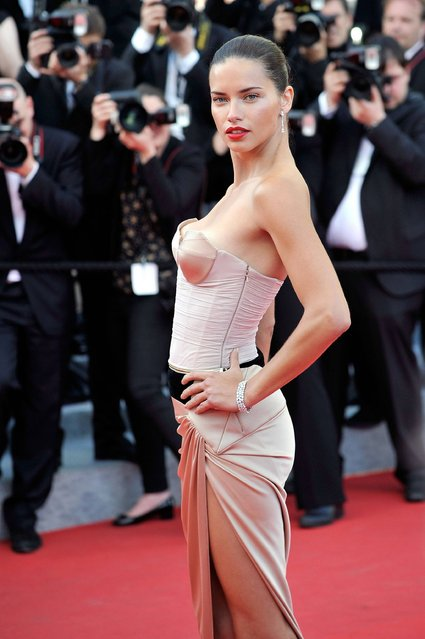 """Adriana Lima attends """"The Homesman"""" premiere during the 67th Annual Cannes Film Festival on May 18, 2014 in Cannes, France. (Photo by Gareth Cattermole/Getty Images)"""