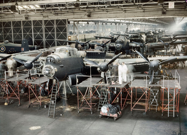 Lancaster bombers nearing completion in Avro's assembly plant at Woodford near Manchester, 1943. (Photo by IWM/PA Wire)