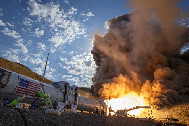 The second and final qualification motor (QM-2) test for the Space Launch System's booster, June 28, 2016, at Orbital ATK Propulsion Systems test facilities in Promontory, Utah. (Photo by Bill Ingalls/NASA)
