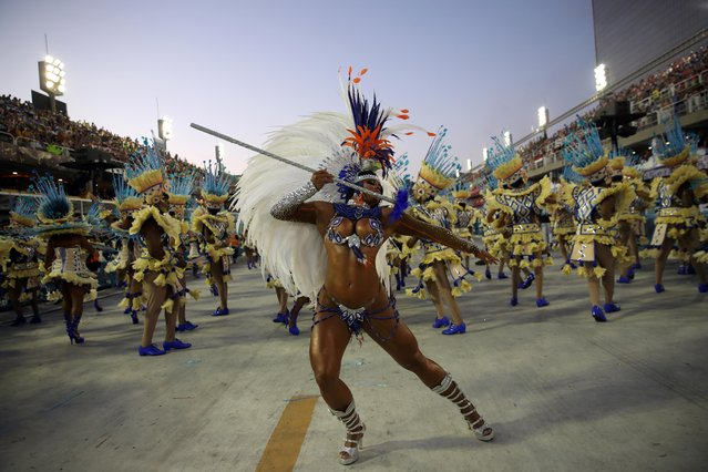 Drum queen Bianca Monteiro of Portela samba school performs during the first night of the Carnival parade at the Sambadrome in Rio de Janeiro, Brazil on February 24, 2020. (Photo by Ricardo Moraes/Reuters)