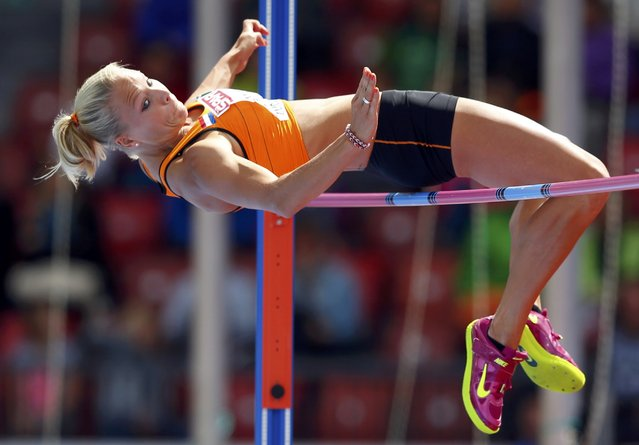 Nadine Broersen of the Netherlands competes in the high jump event of women's heptathlon during the European Athletics Championships at the Letzigrund Stadium in Zurich August 14, 2014. (Photo by Phil Noble/Reuters)