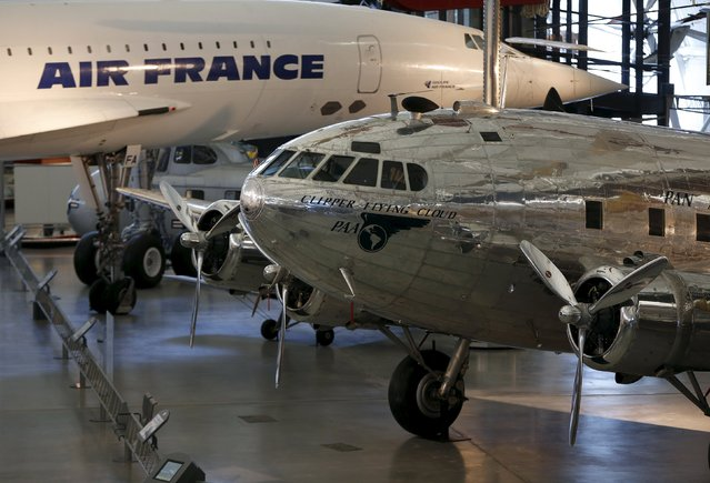 A Boeing 307 Stratoliner, the first pressurized cabin passenger aircraft, and an Air France Concorde supersonic airliner, are seen at the Udvar-Hazy Smithsonian National Air and Space Annex Museum in Chantilly, Virginia August 28, 2015. (Photo by Gary Cameron/Reuters)