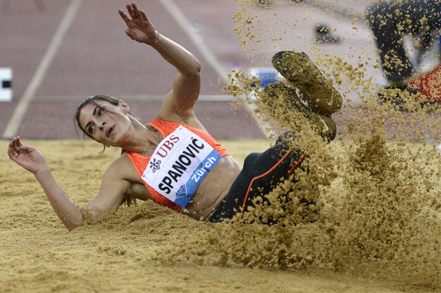 Ivana Spanovic from Serbia competes in the women's Long Jump event during the Weltklasse IAAF Diamond League international athletics meeting at the Letzigrund stadium in Zurich, Switzerland, September 3, 2015. (Photo by Jean-Christophe Bott/EPA)