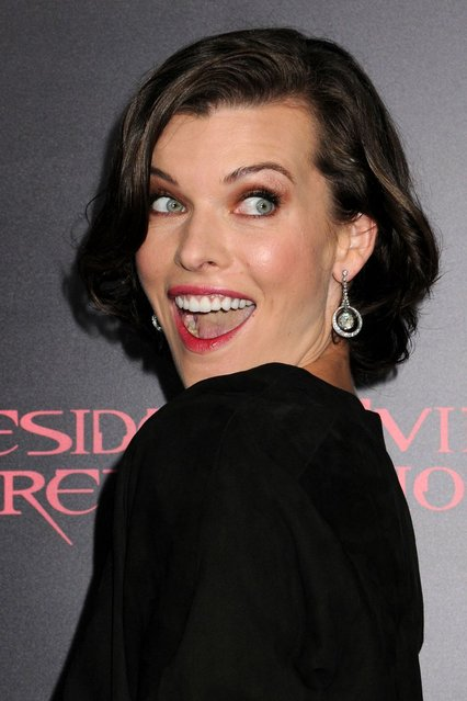 "Actress Milla Jovovich arrives at the Los Angeles premiere of ""Resident Evil: Retribution"" at Regal Cinemas L.A. Live on September 12, 2012 in Los Angeles, California. (Photo by Christopher Polk)"