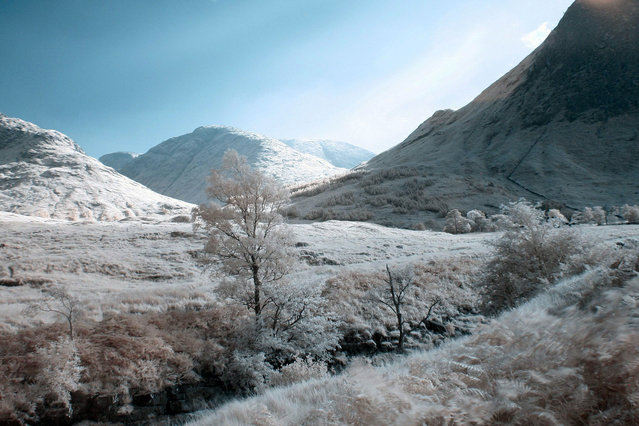 Glen Etive in the Highlands of Scotland pictured in infra-red. These are the stunning images of what looks like a picturesque winter wonderland – but actually shot in the middle of summer. Amateur photographer Catherine Perkinton, 45, has spent the summer travelling around the country to create the fabulous images by utilising infra-red. (Photo by Catherine Perkinton/SWNS/ABACAPress)