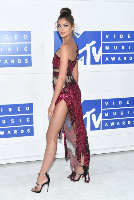 Taylor Marie Hill arrives at the MTV Video Music Awards at Madison Square Garden on Sunday, August 28, 2016, in New York. (Photo by Evan Agostini/Invision/AP Photo)