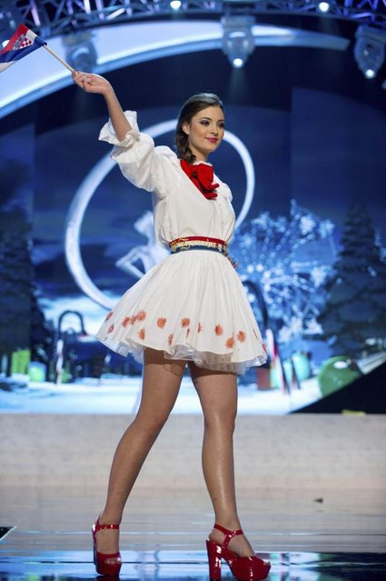 Miss Croatia Elizabeta Burg performs onstage at the 2012 Miss Universe National Costume Show on Friday, December 14, 2012 at PH Live in Las Vegas, Nevada. The 89 Miss Universe Contestants will compete for the Diamond Nexus Crown on December 19, 2012. (Photo by AP Photo/Miss Universe Organization L.P., LLLP)