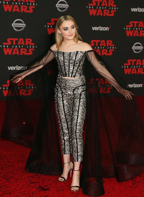 "Actress Meg Donnelly arrives for the premiere of Disney Pictures and Lucasfilm's ""Star Wars: The Last Jedi"" at The Shrine Auditorium in Los Angeles on December 9, 2017. (Photo by Jean-Baptiste Lacroix/AFP Photo)"