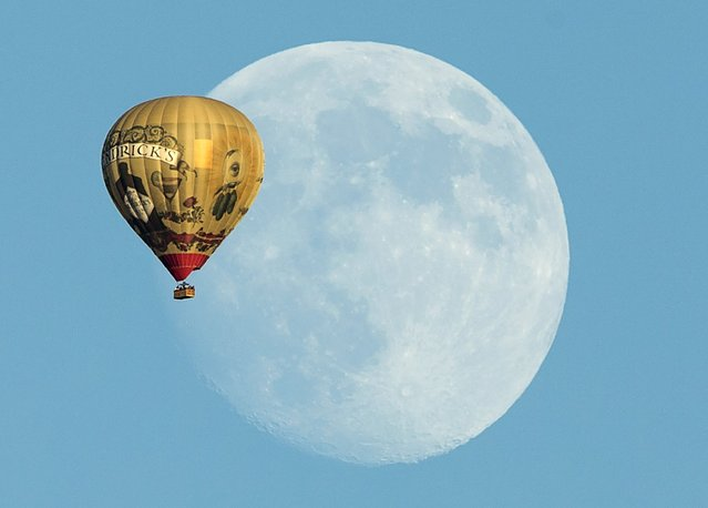 A hot air balloon floats past a rising moon over Rancho Santa Fe, California September 25, 2015. (Photo by Mike Blake/Reuters)