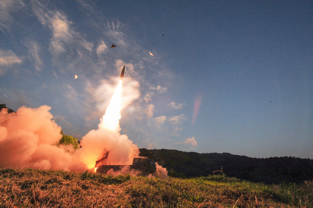 South Korean troops fire Hyunmoo Missile into the waters of the East Sea at a military exercise in South Korea September 4, 2017. (Photo by /Reuters/Yonhap/Defense Ministry)