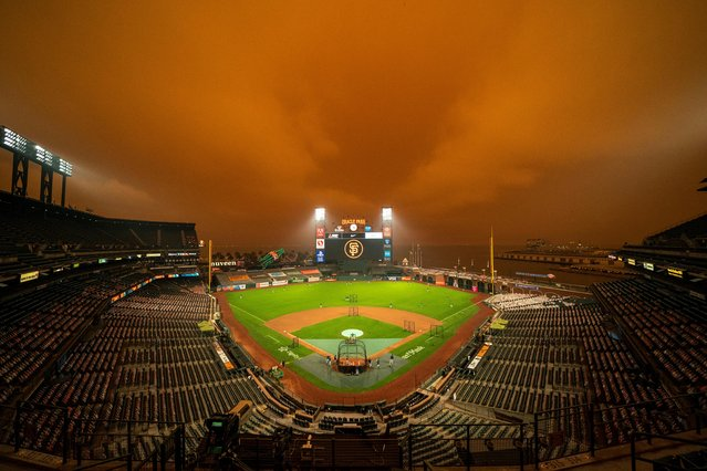 A view of the sky above Oracle Park before the game between the San Francisco Giants and the Seattle Mariners in San Francisco on September 9, 2020. (Photo by Kyle Terada/USA TODAY Sports)