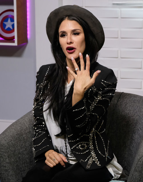 Brittany Furlan stops by Circa Pop Live to discuss her recent engagement to Tommy Lee in Los Angeles, USA on February 19, 2018. (Photo by Jen Lowery/Splash News and Pictures)