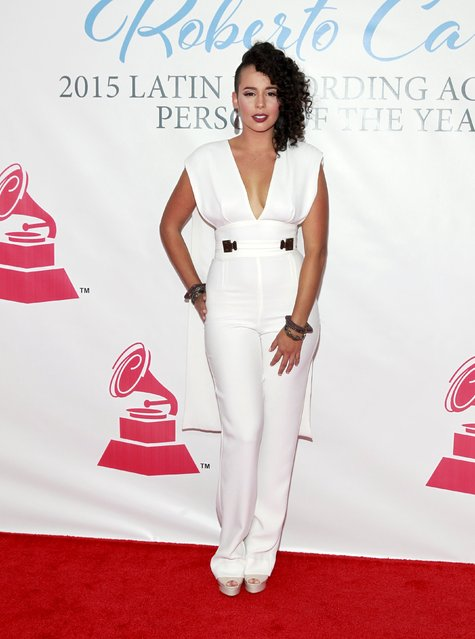 Puerto Rican singer-songwriter Raquel Sofia arrives at the 2015 Latin Recording Academy Person of the Year Tribute to Roberto Carlos in Las Vegas, Nevada November 18, 2015. (Photo by Steve Marcus/Reuters)
