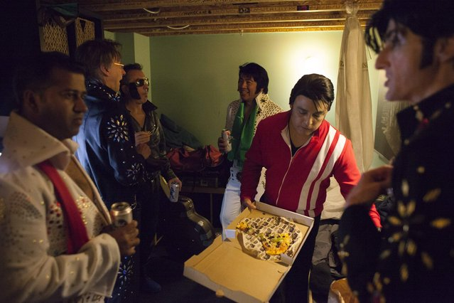 Participants prepare backstage during the 20th annual Seattle Invitationals, an amateur Elvis impersonator competition, in Seattle, Washington January 23, 2015. (Photo by David Ryder/Reuters)