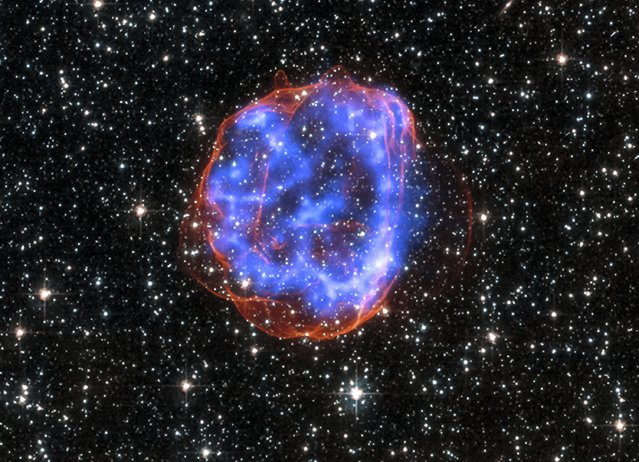 An expanding shell of debris called SNR 0519-69.0 is left behind after a massive star exploded in the Large Magellanic Cloud, a satellite galaxy to the Milky Way, as seen in this undated NASA handout image released January 23, 2015.  Multimillion degree gas is seen in X-rays from Chandra, in blue. The outer edge of the explosion (red) and stars in the field of view are seen in visible light from the Hubble Space Telescope. (Photo by Reuters/NASA/CXC/SAO)