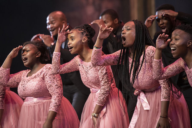 The Vivacious Sounds Choir performs during a dress rehearsal of Cantiamo, Mzansi Opera Celebration, 21 April 2021, at the Joburg Theatre in South Africa. The show, directed by Marcus Desando, will run from 22 April until 2 May celebrating South African opera singers performing popular arias and ensembles from various local and international composers. (Photo by Michel Bega)