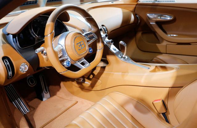 The interior of the Bugatti Chiron car is on display at the Auto show in Paris, France, Tuesday, October 2, 2018, 2018. (Photo by Regis Duvignau/Reuters)