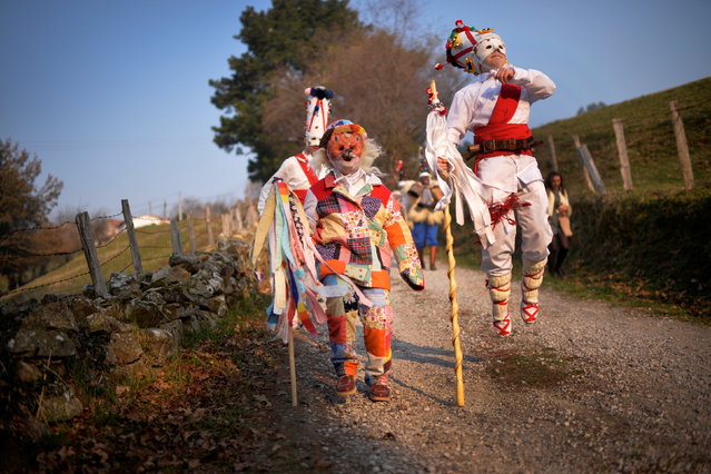 "Dancers take part in ""La Vijanera"", a winter masquerade at the beginning of carnival season in Europe, in Silio, northern Spain, January 8, 2017. (Photo by Vincent West/Reuters)"