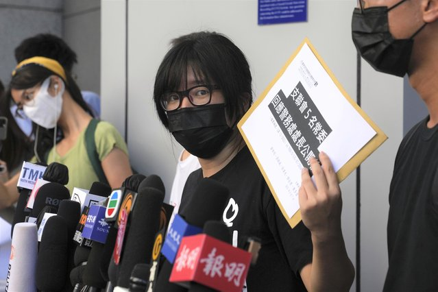 Chow Han Tung, vice chairwoman of the Hong Kong Alliance in Support of Patriotic Democratic Movements of China, speaks to media before delivering a letter to the police to reject their information request at the police headquarters in Hong Kong, Tuesday, September 7, 2021. The group said the Hong Kong government is arbitrarily labeling pro-democracy organizations as foreign agents so they can be prosecuted under a tough national security law, Tuesday. (Photo by Kin Cheung/AP Photo)