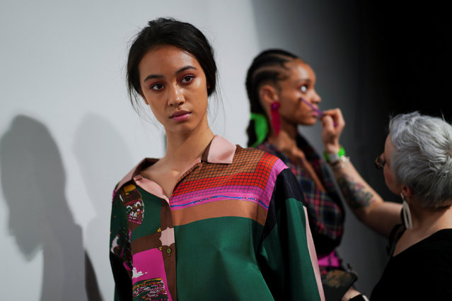 Models prepare backstage before the Roberta Einer catwalk show at London Fashion Week Women's A/W19 in London, Britain February 19,  2019. (Photo by Henry Nicholls/Reuters)