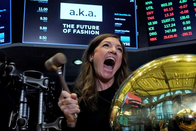 A.k.a Brands CEO Jill Ramsey rings the ceremonial first trade bell as her company's stock begins trading, on the floor of the New York Stock Exchange, Wednesday, September 22, 2021. (Photo by Richard Drew/AP Photo)