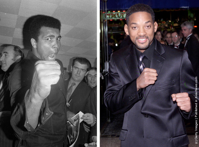1974: American boxer Muhammad Ali, formerly Cassius Clay, strikes an aggressive pose at a press conference on November 29, 1974; American actor Will Smith at the Royal Premiere of the film Ali in London on December 11, 2001. Smith starred as Muhammad Ali in the film