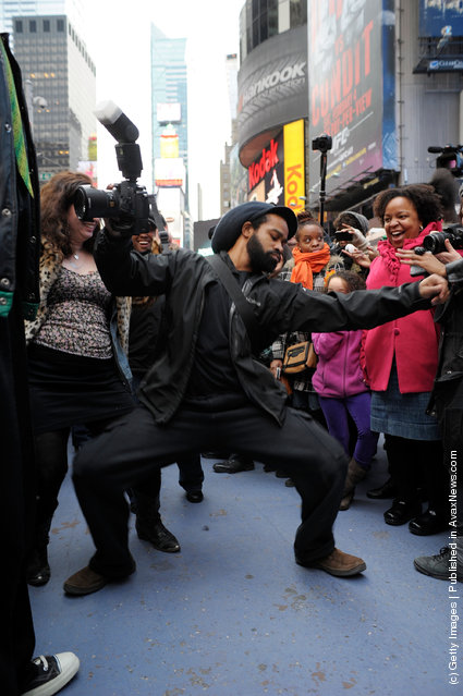 "A general view of atmosphere during the NYC ""Soul Train"" Line Flash Mob: Hippest Trip in America in honor of Don Cornelius in Times Square"