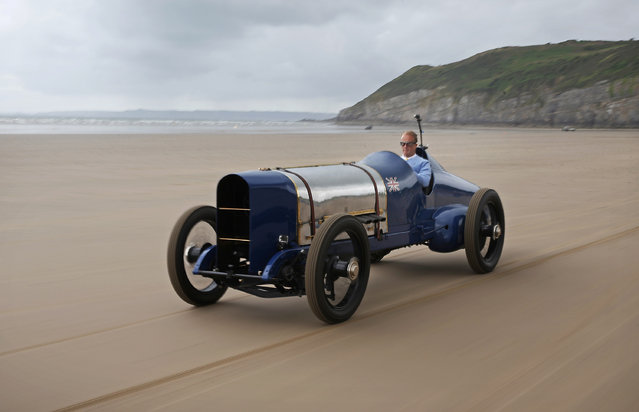 Don Wales drives the original Sunbeam car as he recreates his grandfather's 1925 land speed world record at Pendine Sands on July 21, 2015 in Carmarthen, Wales. (Photo by Peter Macdiarmid/Getty Images)