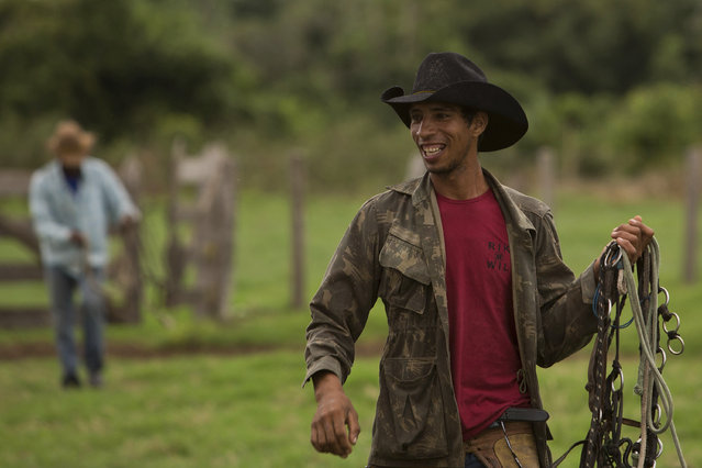 In this May 16, 2017 photo, cowboy Renan Lopes Nascimento holds his reigns as he arrives to a ranch to spend the night, in Corumba, in the Pantanal wetlands of Mato Grosso do Sul state, Brazil. (Photo by Eraldo Peres/AP Photo)