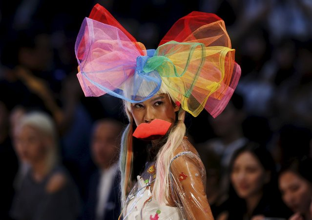 A model wears a creation by Kittie Yiyi during the Kuala Lumpur Fashion Week in Kuala Lumpur, Malaysia, August 12, 2015. (Photo by Olivia Harris/Reuters)