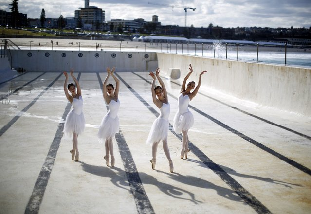 Dancers from the Australian Ballet are pictured in the Bondi Icebergs oceanside pool in Sydney, August 7, 2014. The dancers, taking advantage of the pool being emptied for cleaning, were promoting the February 2015 production of Swan Lake at Sydney's Capitol Theatre. (Photo by Jason Reed/Reuters)