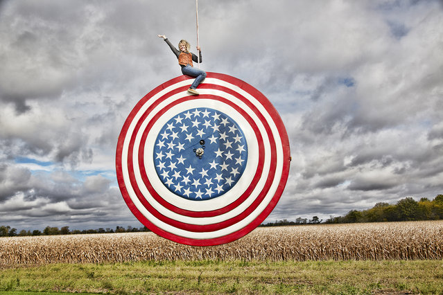 The largest yo-yo is 11 ft 9 inches in diameter with a weight of 4,620 lb, and was devised by Beth Johnson in La Rue, Ohio, USA. The yo-yo was tested in Cincinnati, Ohio. (Photo by Kevin Scott Ramos/Guinness World Records)