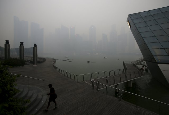People pass the skyline of the central business district shrouded by haze in Singapore September 14, 2015. (Photo by Edgar Su/Reuters)