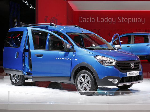 The Dacia Dokker Stepway is displayed on media day at the Paris Mondial de l'Automobile, October 2, 2014. (Photo by Benoit Tessier/Reuters)