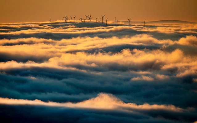 Wind turbines stand on a hill and are surrounded by fog and clouds in the Taunus region near Frankfurt, Germany, Monday, January 6, 2020. (Photo by Michael Probst/AP Photo)