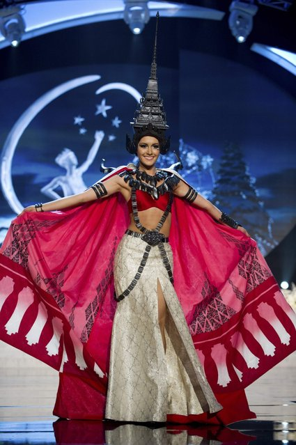 Miss Thailand Farida Waller on stage at the 2012 Miss Universe National Costume Show on Friday, December 14, 2012 at PH Live in Las Vegas, Nevada. The 89 Miss Universe Contestants will compete for the Diamond Nexus Crown on December 19, 2012. (Photo by AP Photo/Miss Universe Organization L.P., LLLP)