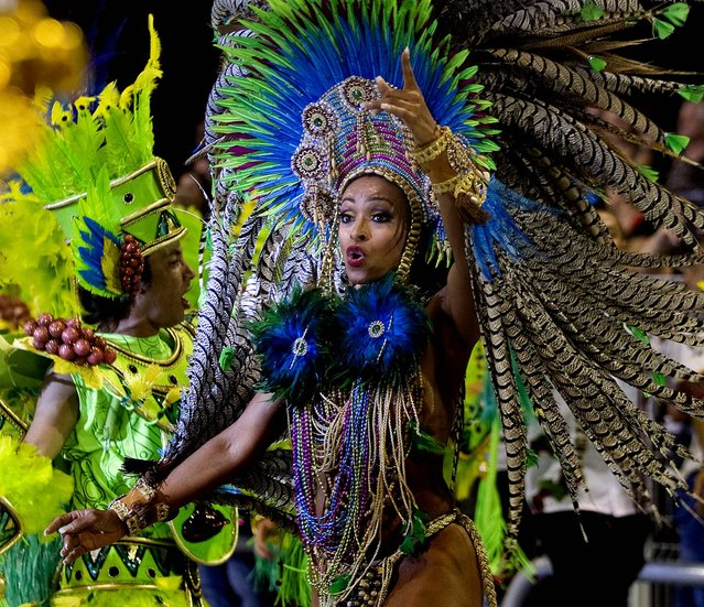 Dancers from the Vai-Vai samba school perform in Sao Paulo. (Photo by Andre Penner/Associated Press)